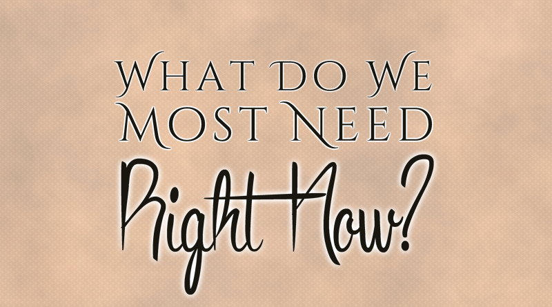 What Do We Most Need Right Now?