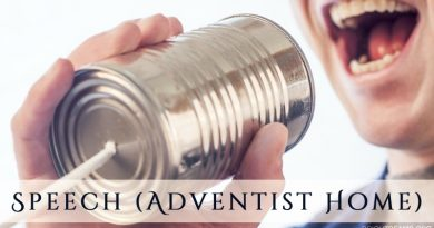 Speech (Adventist Home) - a man speaking into a tin can phone